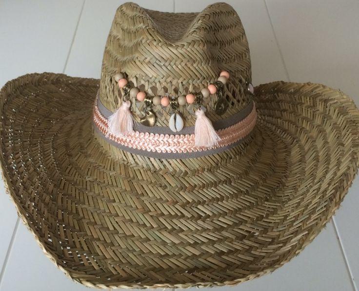 Ibiza stro hoed taupe en zalm
