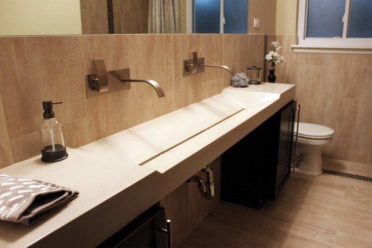 Marvelous Modern Bathroom Vanity Tops Designs. Beige Strong Concrete Long  Wall