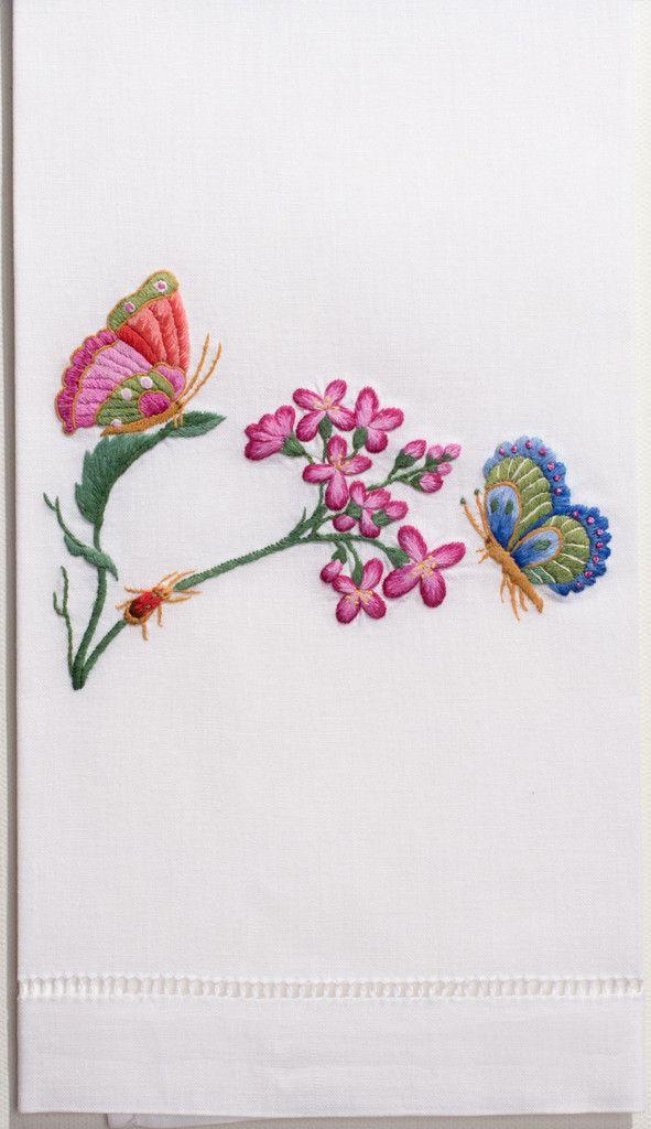Butterflies & Flowers<br>Hand Towel - White Cotton