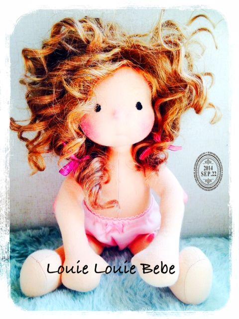 Miss Dakota, waiting for her clothes.. Louie Louie Bebe Handmade Waldorf doll
