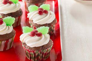 Holiday Holly Chocolate Cupcakes recipe