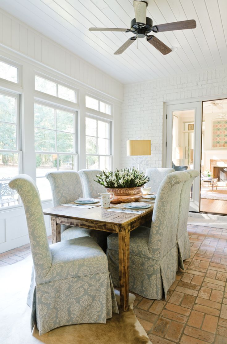 Sunroom dining space.