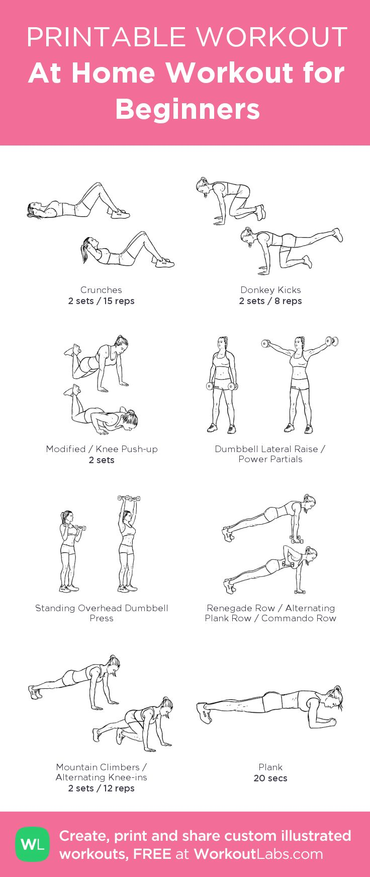 At Home Workout for Beginners:my visual workout created at WorkoutLabs.com • Click through to customize and download as a FREE PDF! #customworkout