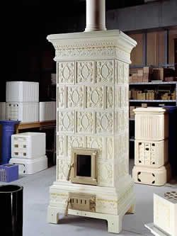 wood-burning stove by Ceramiche Castellamonte