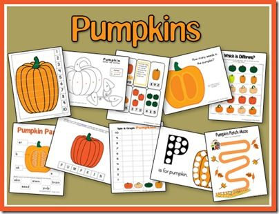 "Pumpkin-themed printables and activities for kids. Includes both ""preschool"" and ""toddler"" ideas!"