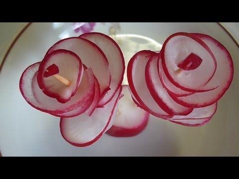 Украшения стола. Цветы из редиса. Как красиво оформить стол. Цветы из овощей .