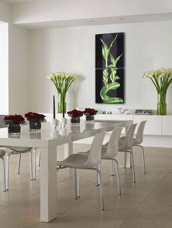 Lucky Bamboo Large Metal Wall Art 20 X 47 By AmazingModernArt Apartment Dining RoomsWhite