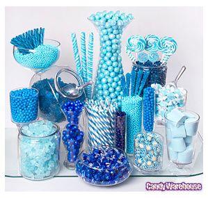 Blue candy bar!Candybuffet, Candy Buffet, Wedding Receptions, Colors, Blue Candies Buffets, Parties Ideas, Candies Bar, Boys Baby Shower, Baby Shower
