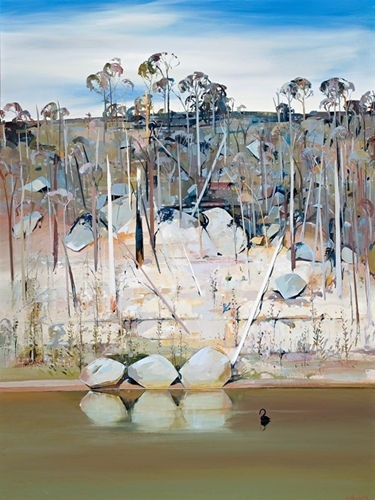 Arthur Boyd | Black Swan and Reflected Rocks, Shoalhaven