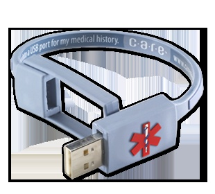 The World's First Electronic Medical Bracelet. In an emergency, the bracelet can be plugged into any computer, providing instant access to your complete health history.
