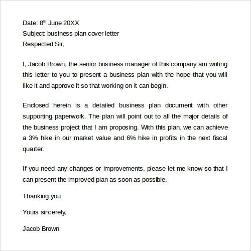 Cover Letter For A Business Plan. Printable Sample Business Letter
