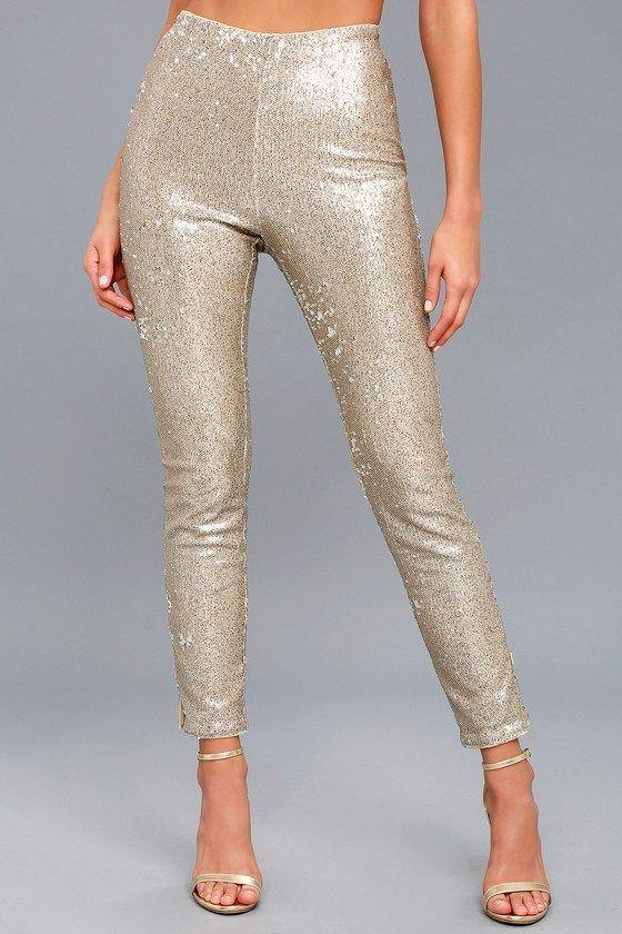 6e5914684bb57b Encore Silver and Light Gold Sequin Leggings in 2019 | Dream Closest ...