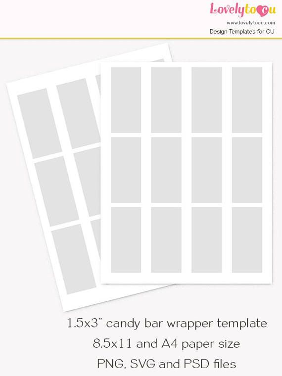 Mini Chocolate Bar Wrapper Template Candy Bar Custom Wrap 80th