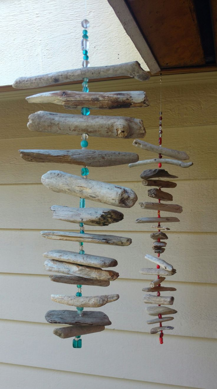Driftwood mobiles with glass beads, fishing line and a spinner.  #craftyladiesnight