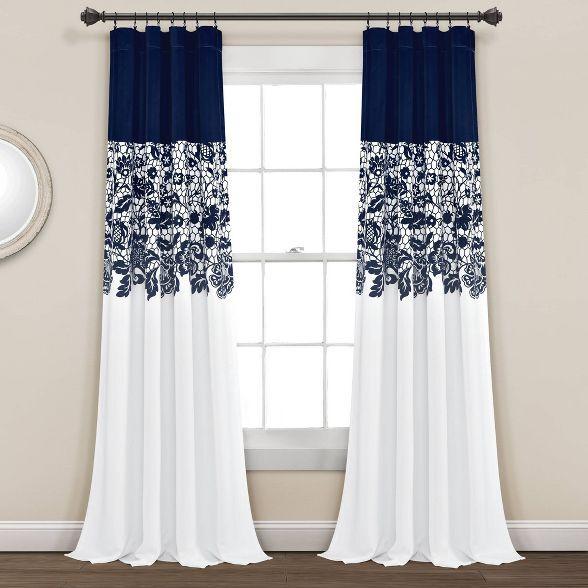 Set Of 2 Estate Garden Print Room Darkening Window Curtain Panels