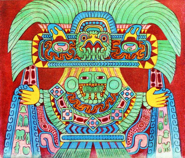 Pic 9 the rain god tlaloc painting by miguel covarrubias for Aztec mural painting
