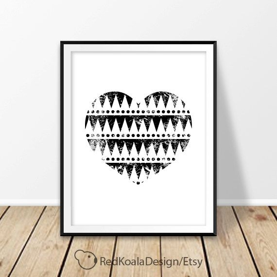 Aztec heart Digital print Tribal pattern Black and White Wall art Love Printable art Valentine's day Gift for her Poster Instant Download by RedKoalaDesign on Etsy