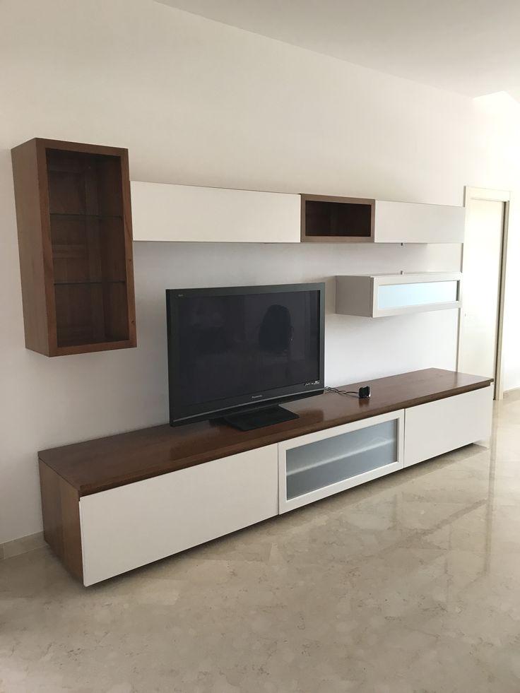 parete attrezzata modulare, moderna in legno massello