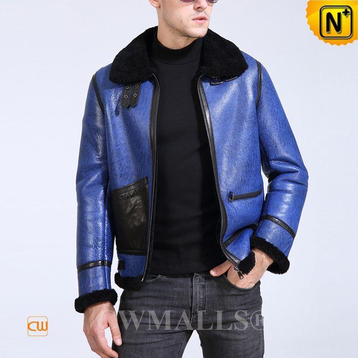 CWMALLS® Minneapolis Blue Sheepskin Bomber Jacket CW807648[Valentine's Day Gift, 48-hour delivery]