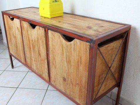 meuble industriel bois casier acier vieillie