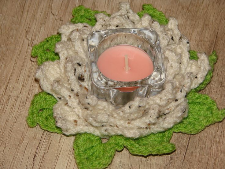 crochet tealight lotus
