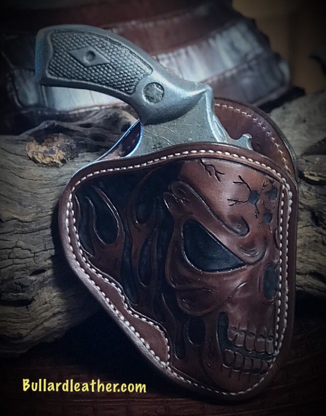 RH OWB Holster S&W J Frame w/skull and flames Saddle Brown