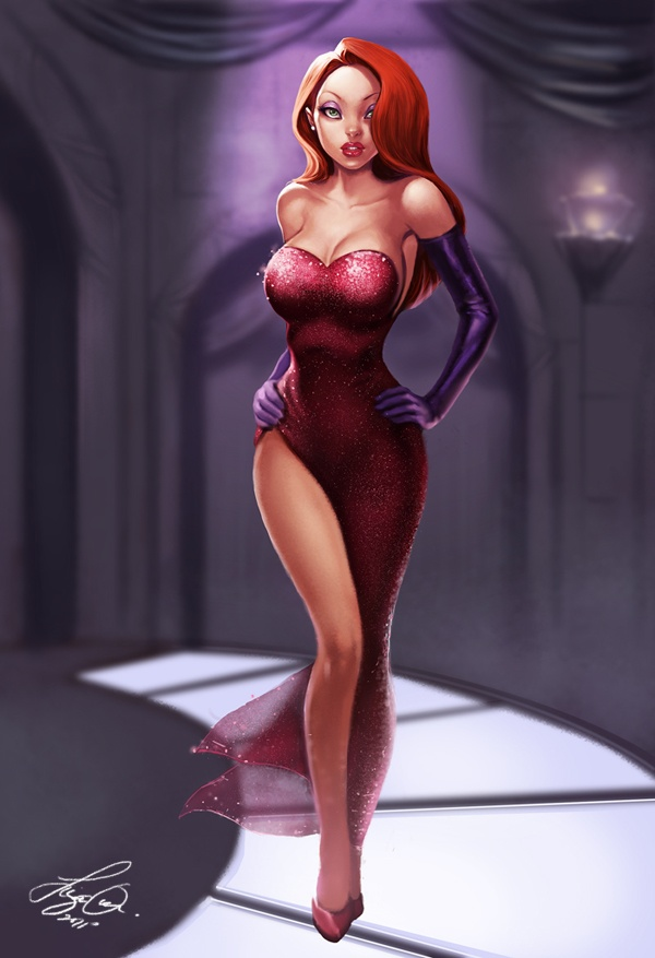 """I think I'm going for """"Jessica Rabbit"""" vibe for our party.  Jessica Rabbit hair or Jessica Rabbit vibe.. I can pull off both for sure!"""