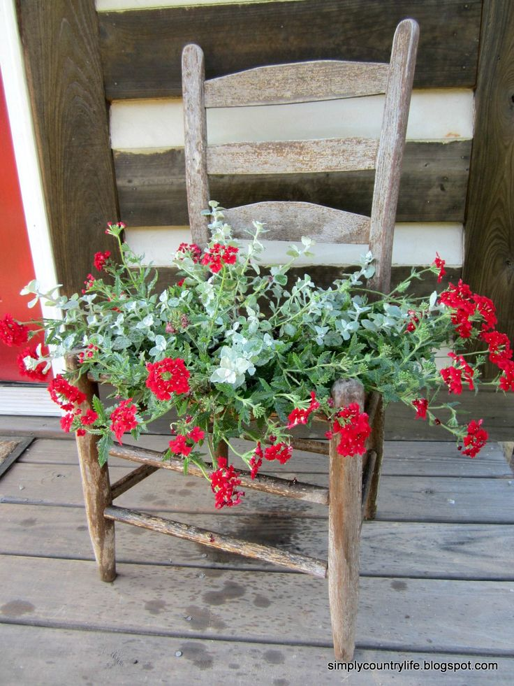 Before: Broken Chair After: Rustic Garden Planter