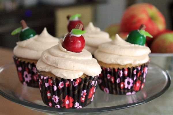 """""""Apple of Your Eye"""" Apple Cider Cupcakes with Salted Caramel Frosting"""