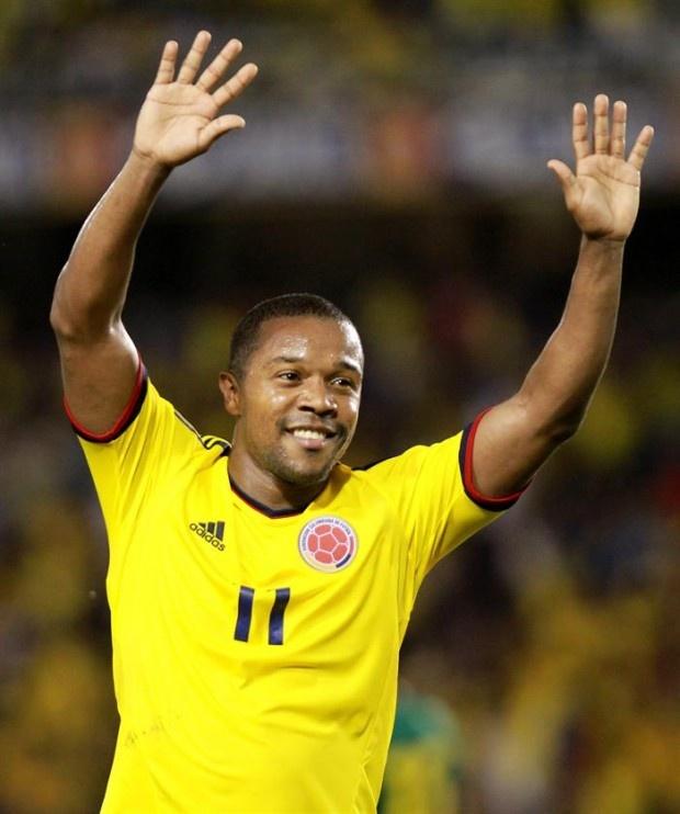 Dorlan Pabón luego de marcar el 3-0 definitivo en el partido contra Camerún el 16/10/2012 en Barranquilla.