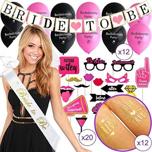BACHELORETTE PARTY DECORATIONS KIT | Bride To Be Bridal Shower Set | Sash, Veil with Comb, Banner, Bride Tribe Tattoos, Photo Booth Props, Balloons | Wedding Engagement Party Supplies Accessories