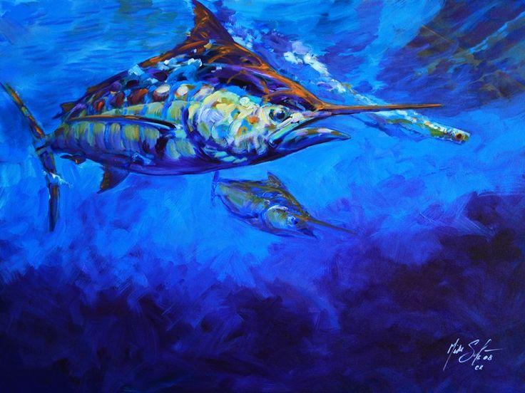 """Savlen Studios - Blue Marlin Fish Limited Original Art - """"Shades of Blue"""", $1,250.00 (http://www.savlenstudios.com/products/blue-marlin-fish-limited-original-art-shades-of-blue.html)"""