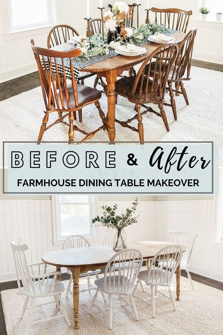 Diy Farmhouse Style Dining Table Makeover Before And After Come Check Out T Dining Room Table Makeover Dining Table Makeover Diy Dining Room Table
