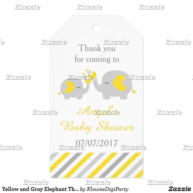 Yellow and Gray Elephant Thank You Baby Shower Gift Tags