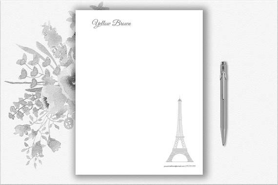 Paris Letterhead Template  Creative Stationery  Printable