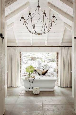 Best Modern Lake Houses White Master Bathroom Standalone Tub                                                                                                                                                      More