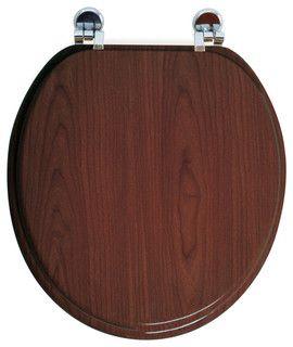 This oval toilet seat is in veneer medium-density fiberboard, MDF. This standard size toilet seat has adjustable zinc alloy hinges, 3 positions-5 possible