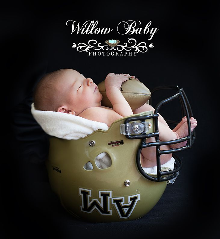 Newborn in football helmet Go Monarchs!! Willow Baby Photography Newborn Football Beanie, Football Baby Hat, Baby Boy Hat, Newborn Baby Crochet Photo Prop