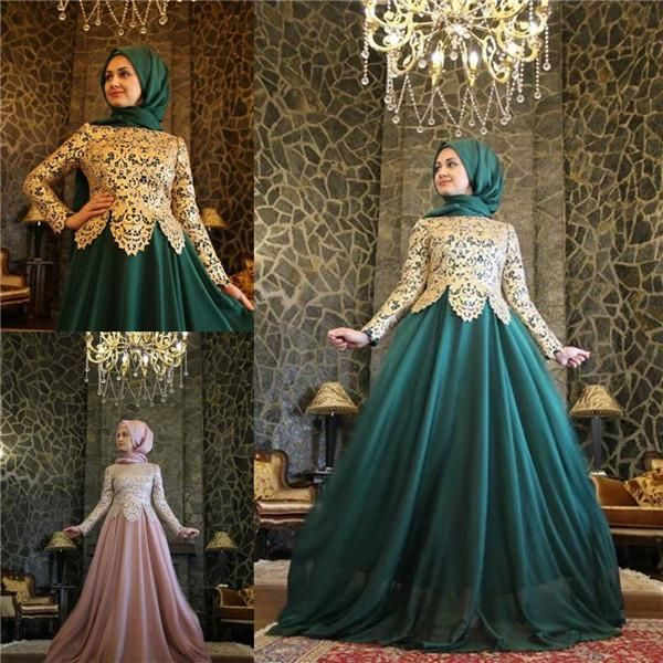 2015 Green Lace Muslim Long Sleeve Evening Dresses High Neck A Line Sweep Train Traditional Arabic Dresses for Women Prom Party Gowns from Marrysa,$138.05 | DHgate.com