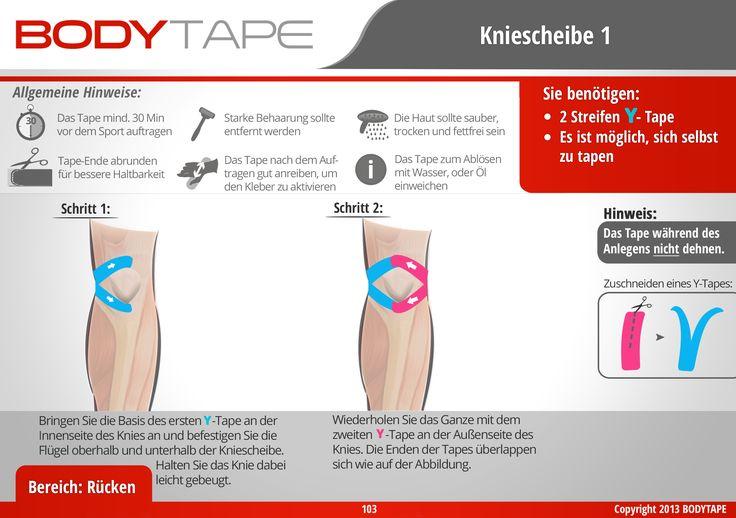Kniescheibe Tapen / Schritt-Für-Schritt Anleitung ✅ Kinesiologie Anleitungen    Mehr entdecken: www.bodytape.net
