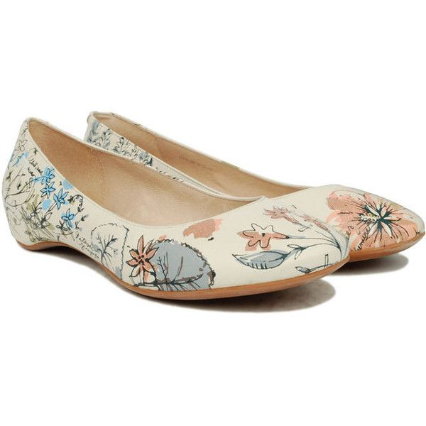 Camper Twins Floral Ballet Shoe 21478-001 ($110) ❤ liked on Polyvore featuring shoes, flats, women, camper flats, floral flat shoes, ballet flat shoes, ballet flats and ballet shoes