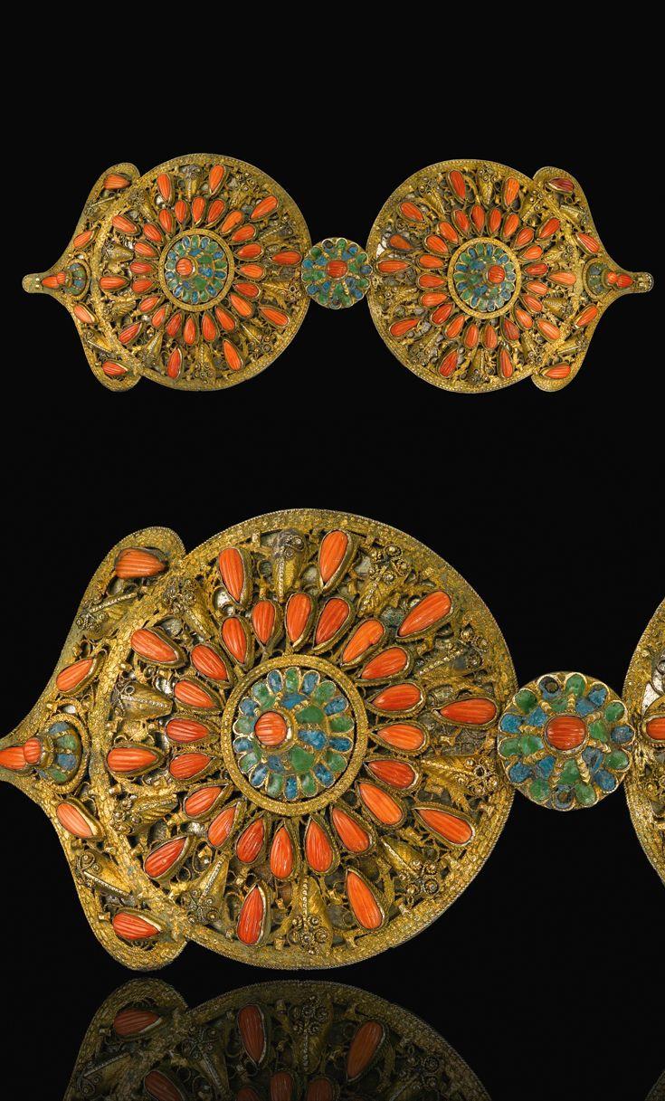 Ottoman Provinces | Coral set and enamelled silver gilt belt buckle | 19th century.  | Est. 3'000 - 5'000£ ~ (Sept '14)