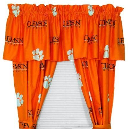 NCAA Printed Curtain Panel Pair Size 42 X 63 NCAA Team Clemson ** Continue  To