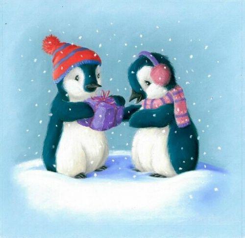 Новогодняя открытка пингвином