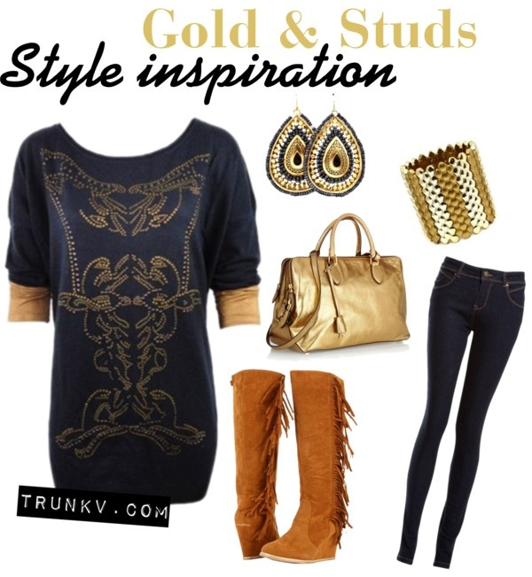 """""""Style Inspiration: Studded Baroque Sweater - Gold & Studs"""" by trunk-v on Polyvore"""