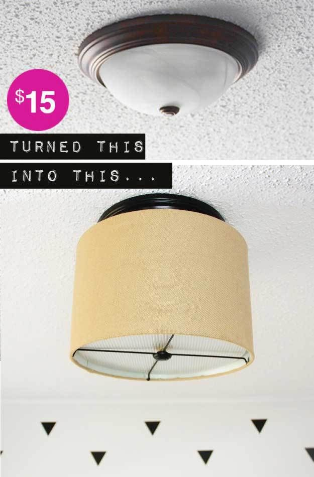 How to add a drum shade your your ceiling light. AKA boob light. Get rid of them on the cheap! www.freshcrush.com