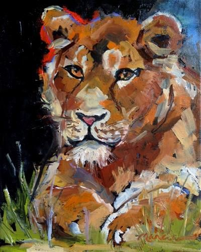 """Daily Paintworks - """"Lion Queen"""" by Marcia Hodges"""