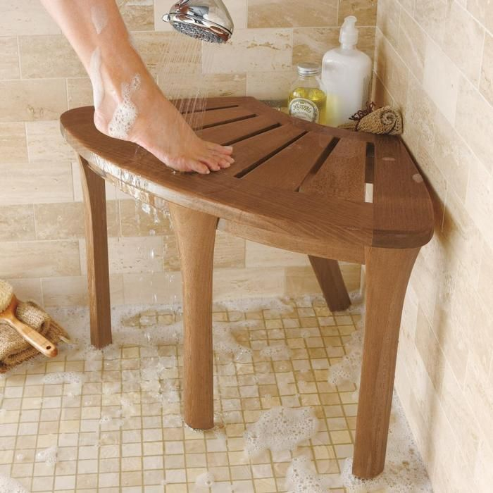 Teak shower bench for our remodeled shower