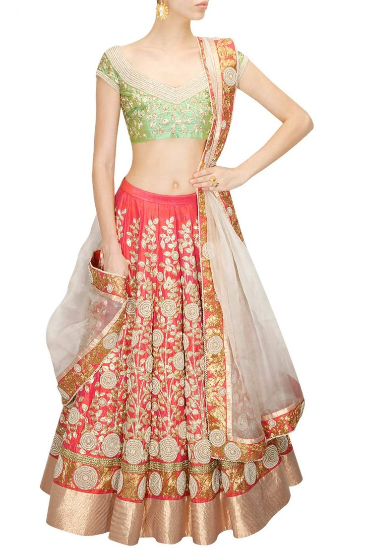 Coral pink floral embroidered lehenga set available only at Pernia's Pop-Up Shop.