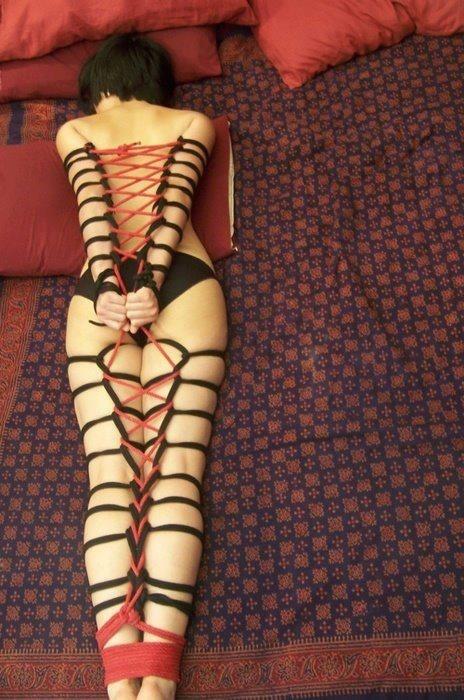 """Shibari - black and red"" - beautiful rope work restraints ~:^]>"